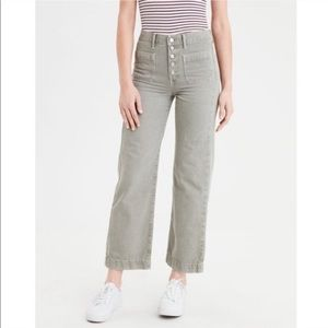 AEO NWOT Green Wide Leg Crop Denim Pants Size 8